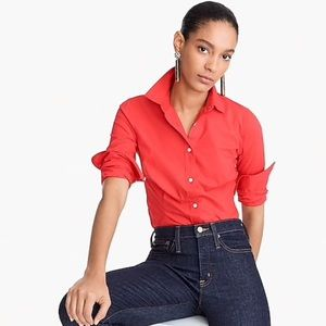 J Crew Red Stretch Perfect Button Down Shirt, XS